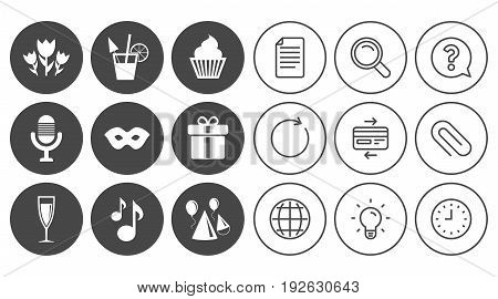 Party celebration, birthday icons. Cocktail, air balloon and champagne glass signs. Gift box, flowers and carnival symbols. Document, Globe and Clock line signs. Lamp, Magnifier and Paper clip icons