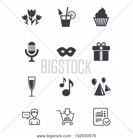 Party celebration, birthday icons. Cocktail, air balloon and champagne glass signs. Gift box, flowers and carnival symbols. Customer service, Shopping cart and Report line signs. Vector