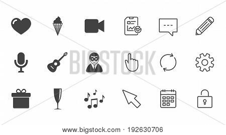 Party celebration, birthday icons. Carnival, guitar and champagne glass signs. Gift box, ice cream and love symbols. Chat, Report and Calendar line signs. Service, Pencil and Locker icons. Vector