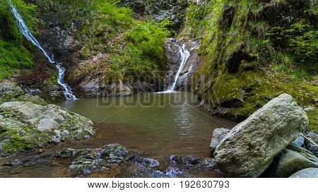 Landscape with Valea lui Stan canyon and river in Romania