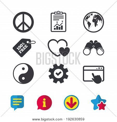 World globe icon. Ying yang sign. Hearts love sign. Peace hope. Harmony and balance symbol. Browser window, Report and Service signs. Binoculars, Information and Download icons. Stars and Chat. Vector