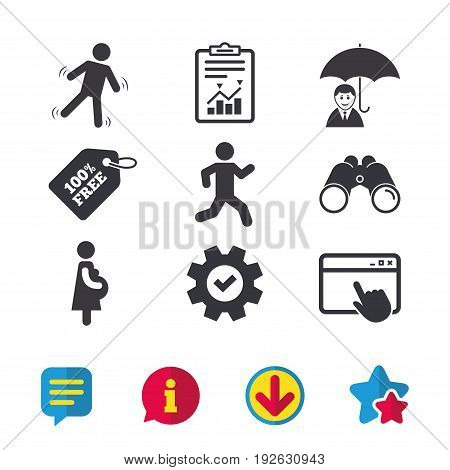 Businessman with umbrella icon. Human running symbol. Man love Woman or Lovers sign. Women Pregnancy. Life insurance. Browser window, Report and Service signs. Vector