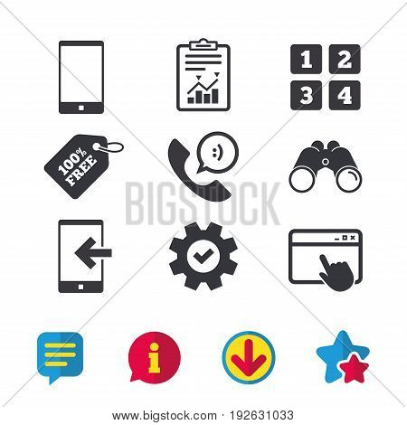 Phone icons. Smartphone incoming call sign. Call center support symbol. Cellphone keyboard symbol. Browser window, Report and Service signs. Binoculars, Information and Download icons. Stars and Chat