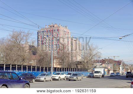Nizhny Novgorod Russia. - April 10.2017. View of Ilinskaya Street in the area of crossing with Maxim Gorky Street