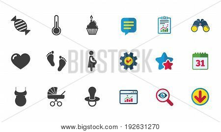 Pregnancy, maternity and baby care icons. Candy, baby carriage and pacifier signs. Footprint, cake and thermometer symbols. Calendar, Report and Download signs. Stars, Service and Search icons