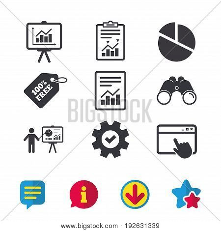 File document with diagram. Pie chart icon. Presentation billboard symbol. Supply and demand. Browser window, Report and Service signs. Binoculars, Information and Download icons. Stars and Chat