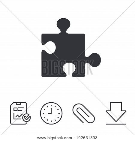 Puzzle piece sign icon. Strategy symbol. Report, Time and Download line signs. Paper Clip linear icon. Vector