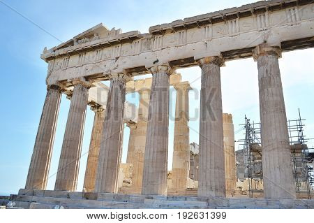 the ancient Parthenon Acropolis columns in Athens Greece