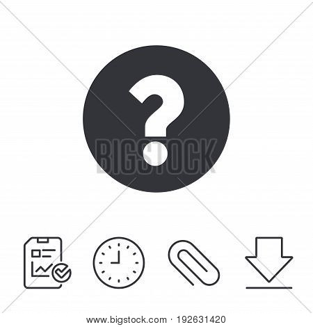 Question mark sign icon. Help symbol. FAQ sign. Report, Time and Download line signs. Paper Clip linear icon. Vector