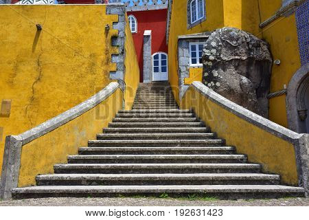 Sintra, Portugal - June 06, 2017: Staircase inside  Pena National Palace in Sintra in Portugal.  Pena Palace one from most famous tourist attraction in Portugal