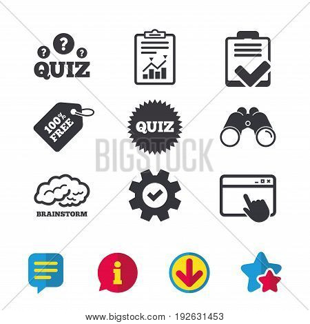 Quiz icons. Brainstorm or human think. Checklist symbol. Survey poll or questionnaire feedback form. Questions and answers game sign. Browser window, Report and Service signs. Vector