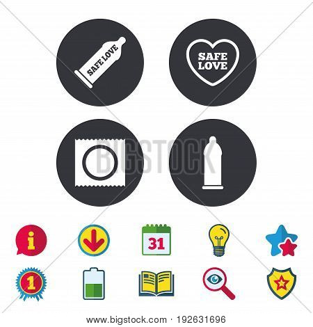 Safe sex love icons. Condom in package symbol. Fertilization or insemination. Heart sign. Calendar, Information and Download signs. Stars, Award and Book icons. Light bulb, Shield and Search. Vector
