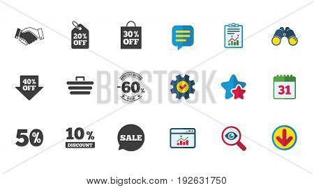 Sale discounts icon. Shopping, handshake and cart signs. 10, 50 and 60 percent off. Special offer symbols. Calendar, Report and Download signs. Stars, Service and Search icons. Vector