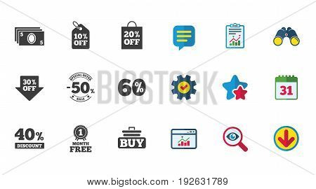 Sale discounts icon. Shopping cart, buying and cash money signs. 40, 50 and 60 percent off. Special offer symbols. Calendar, Report and Download signs. Stars, Service and Search icons. Vector