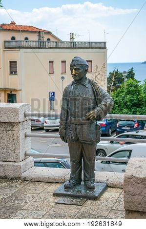 An Unusual Statute Of The Chimney Sweep Rudy Nyuni Karijucha Is Located In Herceg Novi. Montenegro.