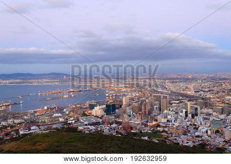 Aerial view of Cape Town from Signal Hill. South Africa modern city with spectacular nightscape panorama