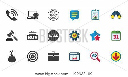 Online shopping, e-commerce and business icons. Auction, phone call and sale signs. Cash money, case and target symbols. Calendar, Report and Download signs. Stars, Service and Search icons. Vector