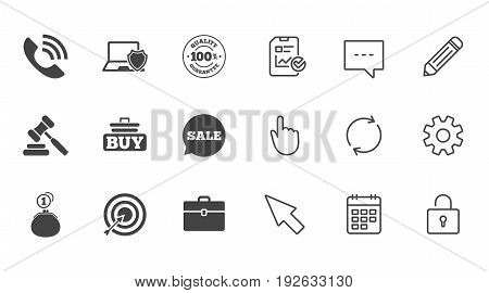 Online shopping, e-commerce and business icons. Auction, phone call and sale signs. Cash money, case and target symbols. Chat, Report and Calendar line signs. Service, Pencil and Locker icons. Vector