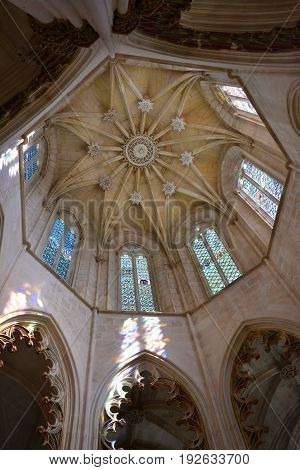 Batalha, Portugal June 04, 2017: Interior of the Monastery of Batalha is a Dominican convent in the civil parish of Batalha Portugal. Originally known as the Monastery of Saint Mary of the Victory