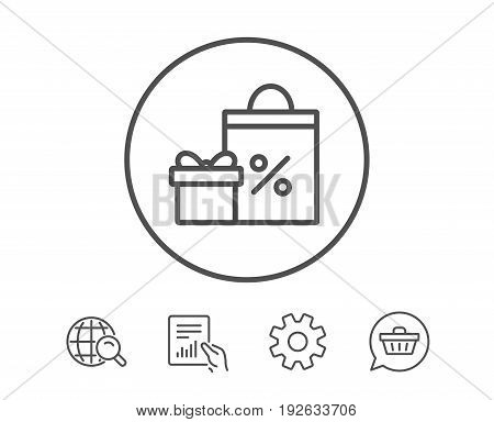 Gift box with Shopping bag line icon. Present or Sale sign. Birthday Shopping with Discounts symbol. Package in Gift Wrap. Hold Report, Service and Global search line signs. Shopping cart icon