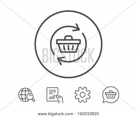Update Shopping cart line icon. Online buying sign. Supermarket basket symbol. Hold Report, Service and Global search line signs. Shopping cart icon. Editable stroke. Vector
