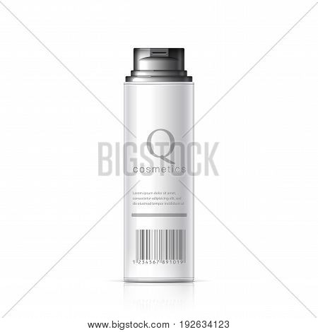 Realistic White Shaving Foam Aerosol. Cosmetics bottle can Spray Deodorant Air Freshener. Object shadow and reflection on separate layers. Vector illustration