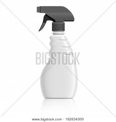 Realistic White Plastic bottle can Spray Pistol. Object shadow and reflection on separate layers. Vector illustration