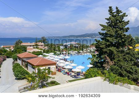RODA BEACH RESORT, GREECE - MAY 24: View of a typical luxury Greek resort on Corfu island on May 24, 2017 in Roda Beach Resort, Corfu island in Greece.