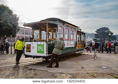 San Francisco USA - January 8 2015: Cable car being turned around on a turning point.