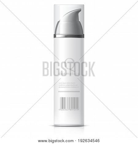 Realistic White Shaving Foam Aerosol. Cosmetics bottle can Spray Deodorant Air Freshener. With lid. Object shadow and reflection on separate layers. Vector illustration