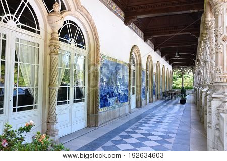 Luso, Portugal - June 10, 2017: Arched terrace of the Bussaco Palace near Luso in Portugal