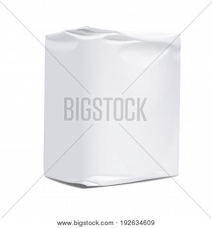 Paper packaging of goods. Template packaging for flour and other bulk products on a white background. Mock up for Your Design. Vector illustration.
