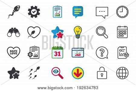 Sperm icons. Fertilization or insemination signs. Safe love heart symbol. Chat, Report and Calendar signs. Stars, Statistics and Download icons. Question, Clock and Globe. Vector