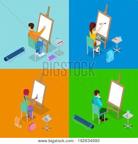 Isometric Art Concept. Class with Students Painter. People Learning to Draw with Paints and Easel. Vector flat 3d illustration