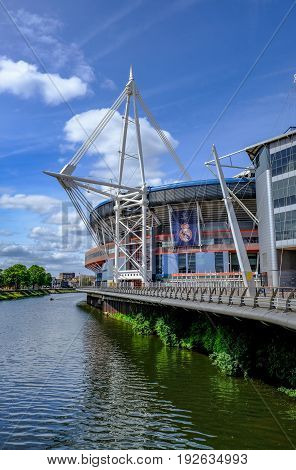 Cardiff Wales - May 21 2017: Millennium Football Stadium with river beside.