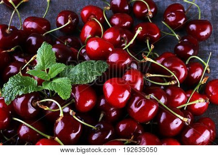 Cherry Basket / Sweet Cherry Background/ Cherry With Leaf