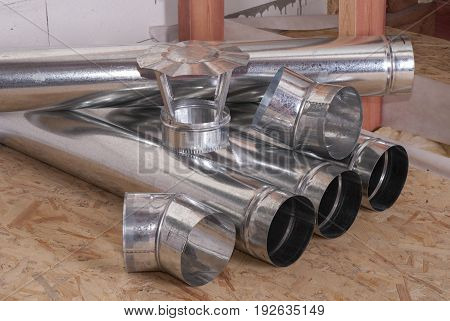 air ducts round shape made of metal