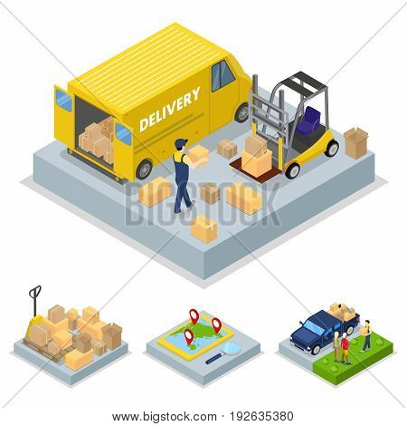 Isometric Delivery Concept with Loading Process, Freight Transportation. Vector flat 3d illustration