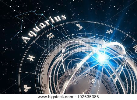 Zodiac Sign Aquarius And Armillary Sphere On Black Background. 3D Illustration.