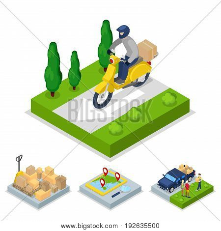 Isometric Delivery Concept with Scooter and Courier, Freight Transportation. Vector flat 3d illustration