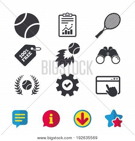 Tennis ball and racket icons. Fast fireball sign. Sport laurel wreath winner award symbol. Browser window, Report and Service signs. Binoculars, Information and Download icons. Stars and Chat. Vector