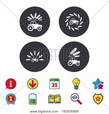 Tractor icons. Wreath of Wheat corn signs. Agricultural industry transport symbols. Calendar, Information and Download signs. Stars, Award and Book icons. Light bulb, Shield and Search. Vector