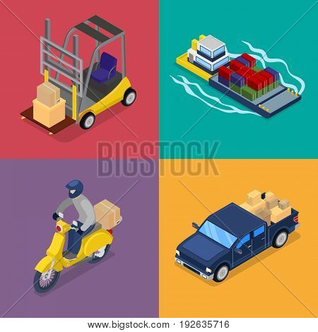 Isometric Delivery Concept. Freight Transportation, Scooter, Forklift. Vector flat 3d illustration