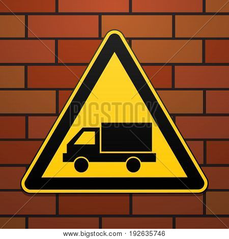 International safety warning sign. Watch out for the car The sign on the brick wall background. Black image on a yellow triangle. Vector illustration.
