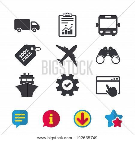 Transport icons. Truck, Airplane, Public bus and Ship signs. Shipping delivery symbol. Air mail delivery sign. Browser window, Report and Service signs. Binoculars, Information and Download icons