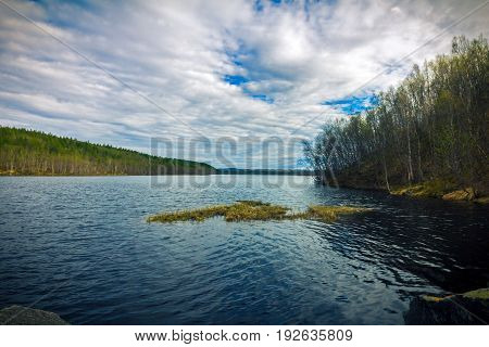 Large forest lake in a cloud spring day