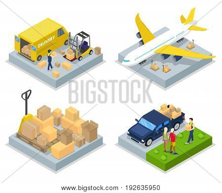 Isometric Delivery Concept. Worldwide Shipping. Air Cargo, Freight Transportation. Vector flat 3d illustration