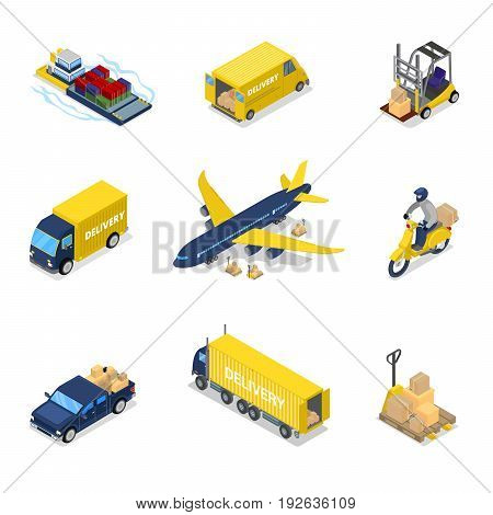 Isometric Delivery Concept. Air Cargo Plane Freight Transportation, Truck, Scooter. Vector flat 3d illustration