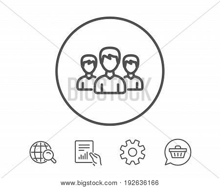 Group line icon. Users or Teamwork sign. Male Person silhouette symbol. Hold Report, Service and Global search line signs. Shopping cart icon. Editable stroke. Vector