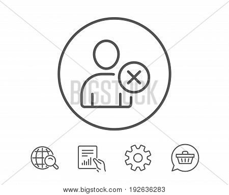 Remove User line icon. Profile Avatar sign. Person silhouette symbol. Hold Report, Service and Global search line signs. Shopping cart icon. Editable stroke. Vector